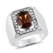 Stainless Steel Men's Ring (Size 10.0) Made with SWAROVSKI Smoked Topaz and White Crystal TGW 6.050 cts.