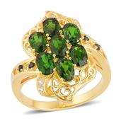 Russian Diopside, London Blue Topaz, White Topaz 14K YG Over Sterling Silver Openwork Ring (Size 10.0) TGW 3.65 cts.