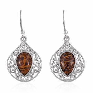 Indian Script Stone Platinum Bond Brass Dangle Earrings TGW 8.700 Cts.