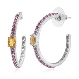 Marialite, Orissa Rhodolite Garnet Platinum Over Sterling Silver Half Hoop Earrings TGW 1.96 cts.