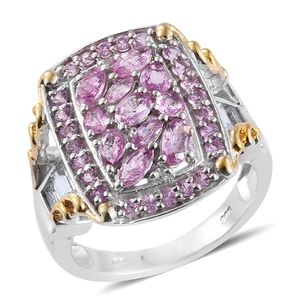 Madagascar Pink Sapphire, White Topaz 14K YG and Platinum Over Sterling Silver Bridge Statement Ring (Size 7.0) TGW 4.72 cts.
