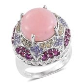 Peruvian Pink Opal, Multi Gemstone Platinum Over Sterling Silver Statement Ring (Size 9.0) TGW 11.92 cts.