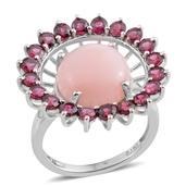 Peruvian Pink Opal, Orissa Rhodolite Garnet Platinum Over Sterling Silver Openwork Statement Ring (Size 7.0) TGW 9.55 cts.
