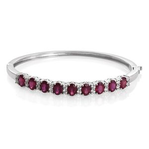 Niassa Ruby, Cambodian Zircon Platinum Over Sterling Silver Bangle (7.50 in) TGW 11.48 cts.