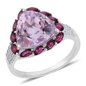 Rose De France Amethyst, Orissa Rhodolite Garnet, White Zircon Sterling Silver Ring (Size 6.0) TGW 7.58 cts.