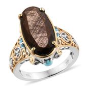 Chocolate Sapphire, Arizona Sleeping Beauty Turquoise 14K YG and Platinum Over Sterling Silver Ring (Size 7.0) TGW 14.10 cts.
