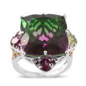 Watermelon Quartz, Hebei Peridot, Orissa Rhodolite Garnet 14K YG and Platinum Over Sterling Silver Ring (Size 9.0) TGW 29.32 cts.