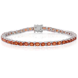 Orange Sapphire Sterling Silver Tennis Bracelet (7.50 In) TGW 8.17 cts.