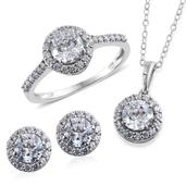 J Francis - Platinum Over Sterling Silver Stud Earrings, Ring (Size 7) and Pendant With Chain (20 in) Made with SWAROVSKI ZIRCONIA TGW 9.120 cts.