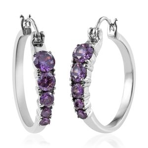 Simulated Purple Diamond Stainless Steel Hoop Earrings TGW 5.86 cts.