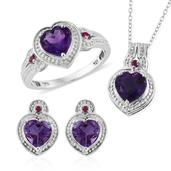 Uruguayan Amethyst, Ruby Platinum Over Sterling Silver Heart Earrings, Ring (Size 7) and Pendant With Chain (20 in) Total Gem Stone Weight 5.370 Carat