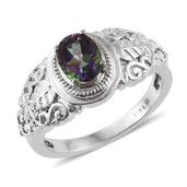 Northern Lights Mystic Topaz Stainless Steel Ring (Size 5.0) TGW 1.400 cts.