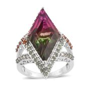Watermelon Quartz, Green and Red Sapphire Platinum Over Sterling Silver Elongated Split Ring (Size 7.0) TGW 15.21 cts.