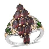 Red Zircon, Russian Diopside 14K YG and Platinum Over Sterling Silver Ring (Size 6.0) TGW 6.55 cts.