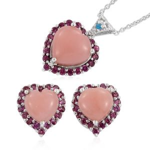 Peruvian Pink Opal, Orissa Rhodolite Garnet, Malgache Neon Apatite Platinum Over Sterling Silver Heart Earrings and Pendant With Chain (20 in) TGW 13.950 Cts.