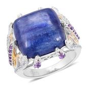 Himalayan Kyanite, Amethyst, White Topaz 14K YG Over and Sterling Silver Openwork Ring (Size 7.0) TGW 15.32 cts.