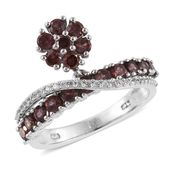 Red Zircon, White Zircon Platinum Over Sterling Silver Bridge Swirl Drop Ring (Size 6.0) TGW 3.00 cts.