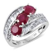 Niassa Ruby, White Topaz Platinum Over Sterling Silver Bypass Ring (Size 6.0) TGW 6.25 cts.