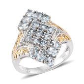 Espirito Santo Aquamarine, Cambodian Zircon 14K YG and Platinum Over Sterling Silver Ring (Size 7.0) TGW 2.17 cts.