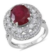 Niassa Ruby, White Topaz Sterling Silver Openwork Statement Ring (Size 6.0) TGW 9.07 cts.