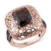 GP Chocolate Sapphire, Thai Black Spinel 14K RG Over Sterling Silver Openwork Ring (Size 10.0) TGW 7.50 cts.