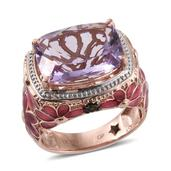 GP Rose De France Amethyst, Russian Diaopside, Kanchanaburi Blue Sapphire 14K RG Over Sterling Silver Ring (Size 10.0) TGW 10.480 cts.