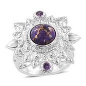 KARIS Collection - Mojave Purple Turquoise, Simulated Purple Diamond Platinum Bond Brass Statement Openwork Ring (Size 5.0) TGW 4.670 cts.