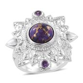 KARIS Collection - Mojave Purple Turquoise, Simulated Purple Diamond Platinum Bond Brass Statement Openwork Ring (Size 6.0) TGW 4.670 cts.
