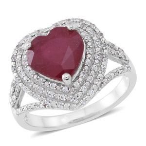 Niassa Ruby, Cambodian White Zircon Sterling Silver Outline Heart Split Ring (Size 10.0) TGW 6.21 cts.