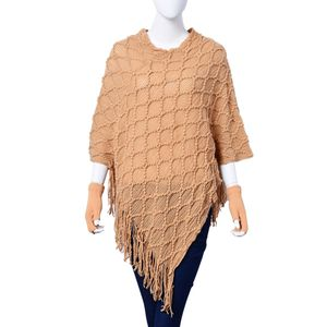 Camel 100% Acrylic Diamond Pattern V-Shape Poncho with Fringes (One Size) and Matching Fingerless Gloves