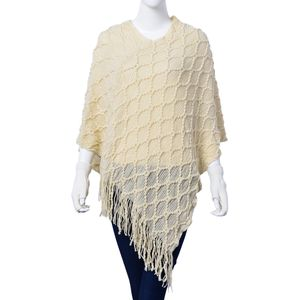 Cream 100% Acrylic Diamond Pattern V-Shape Poncho with Fringes (One Size) and Matching Fingerless Gloves