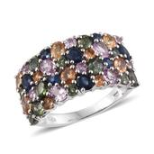 Multi Sapphire Platinum Over Sterling Silver Cluster Ring (Size 8.0) TGW 6.13 cts.