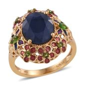 GP Kanchanaburi Blue Sapphire, Russian Diopside 14K YG Over Sterling Silver Ring (Size 8.0) TGW 6.23 cts.
