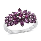 Purple Garnet Platinum Over Sterling Silver Ring (Size 6.0) TGW 3.28 cts.