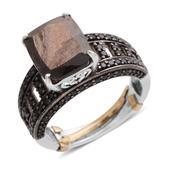 Silver Saphire, Thai Black Spinel Platinum Over Sterling Silver Ring (Size 9.5) TGW 5.240 cts.