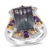 Bi-color Fluorite, Amethyst, White Zircon 14K YG and Platinum Over Sterling Silver Ring (Size 8.0) TGW 9.89 cts.