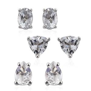 Brazilian Goshenite Platinum Over Sterling Silver Set of 3 Stud Earrings TGW 4.100 Cts.