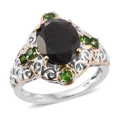 Natural Silver Sapphire, Russian Diopside 14K YG and Platinum Over Sterling Silver Openwork Ring (Size 10.0) TGW 7.85 cts.