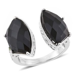 Thai Black Spinel, Russian Diopside Platinum Over Sterling Silver Open Band Ring (Size 7.0) TGW 19.91 cts.