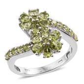 Arizona Peridot Platinum Over Sterling Silver Floral Bypass Ring (Size 5.0) TGW 2.920 cts.