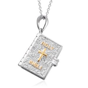 Platinum Over Sterling Silver Holy Bible Pendant With Chain (20 in, 8 g)