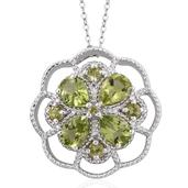Arizona Peridot Platinum Over Sterling Silver Pendant With Chain (20 in) TGW 3.61 cts.
