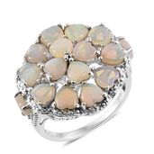 Australian White Opal, White Topaz Platinum Over Sterling Silver Openwork Cluster Heart Ring (Size 7.0) TGW 3.81 cts.