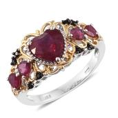 Niassa Ruby, Thai Black Spinel 14K YG and Platinum Over Sterling Silver Heart Ring (Size 6.0) TGW 4.06 cts.