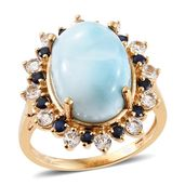 Larimar, Kanchanaburi Blue Sapphire, White Topaz 14K YG Over Sterling Silver Ring (Size 10.0) TGW 11.75 cts.