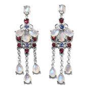 Sri Lankan Rainbow Moonstone, Orissa Rhodolite Garnet, Tanzanite Platinum Over Sterling Silver Chandelier Earrings TGW 15.46 cts.