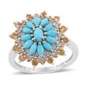 Arizona Sleeping Beauty Turquoise, Brazilian Citrine, Cambodian Zircon Platinum Over Sterling Silver Ring (Size 6.0) TGW 2.110 cts.