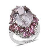 Urukun Kunzite, Pink Tourmaline, White Zircon Platinum Over Sterling Silver Ring (Size 7.0) TGW 20.11 cts.