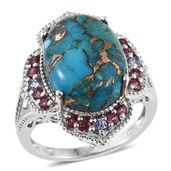 Mojave Blue Turquoise, Orissa Rhodolite Garnet, Tanzanite Platinum Over Sterling Silver Ring (Size 7.0) TGW 12.65 cts.