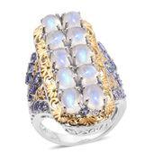 Sri Lankan Rainbow Moonstone, Tanzanite 14K YG and Platinum Over Sterling Silver Elongated Ring (Size 9.0) TGW 12.82 cts.